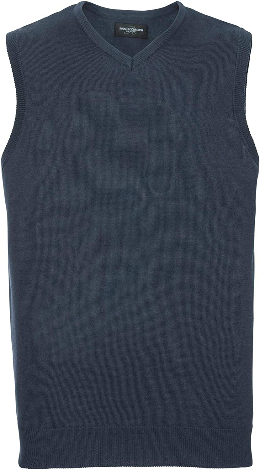 Russell Collection J716M V-Neck Sleeveless Knitted Sweater Blank Plain