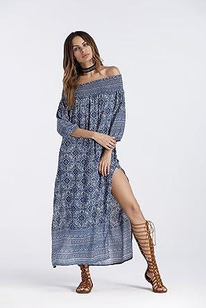 XIAOLI& Vestidos Falda Larga Europa Y América Hombro Imprimir Hombro Desnudo De Moda Sexy, Blue