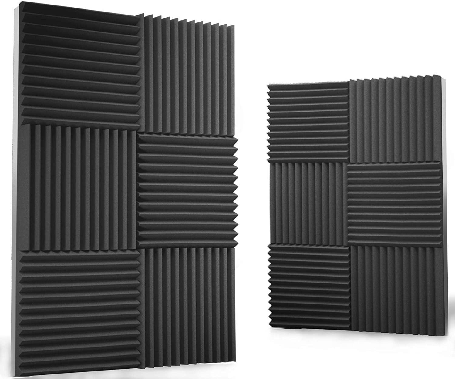 "Siless 12 pack Acoustic Panels 1"" X 12"" X 12"" – Acoustic Foam - Studio Foam Wedges - High Density Panels – Soundproof Wedges (Charcoal)"
