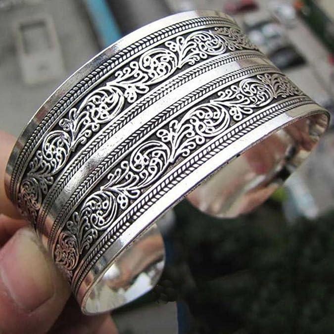 Tibetan Tibet Silber Pfingstrose Totem geschnitzte Armreif Manschette Mode