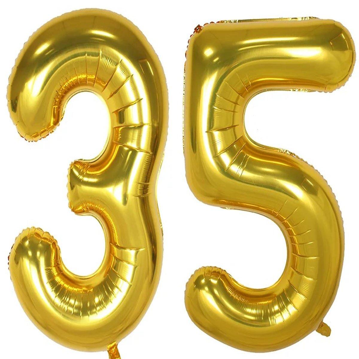 40インチゴールド箔ヘリウムジャンボ35デジタル番号バルーン、35th誕生日の装飾女の子または男の子、Sweet 35誕生日パーティー用品   B07BFBYDV8