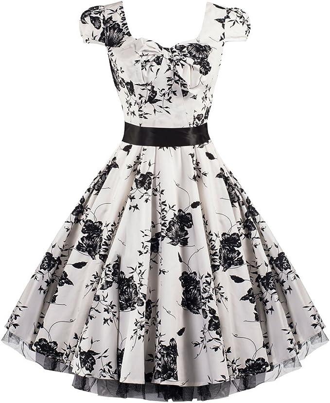 Pretty Kitty Fashion 50s Weiss Schwarz Blumen Cocktail Tee Kleid M Amazon De Bekleidung