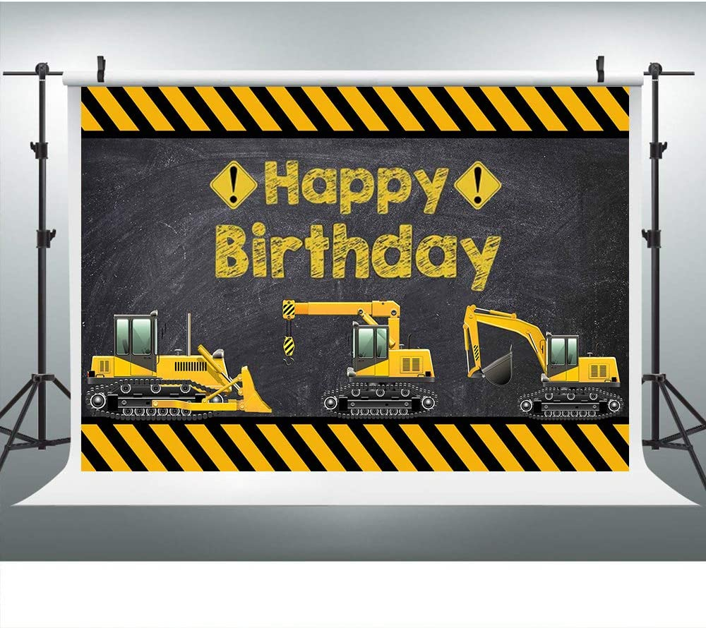 Construction Machinery Yellow Stripes Background Construction Themed Birthday Party Backdrop for Photography 9X6FT Kids Children Adults Birthday Banner Photo Booth Studio Props LYLU433