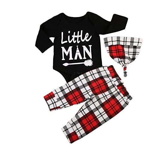 e39aa8dd0 Amazon.com: 3pcs Newborn Kids Baby Boy Clothes Cotton Little Man Jumpsuit  Romper Bodysuit +Plaid Long Pants Hat Outfit Set: Clothing