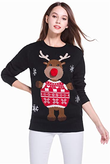 Women's Christmas Reindeer Themed Knitted Holiday Sweater Girl Pullover