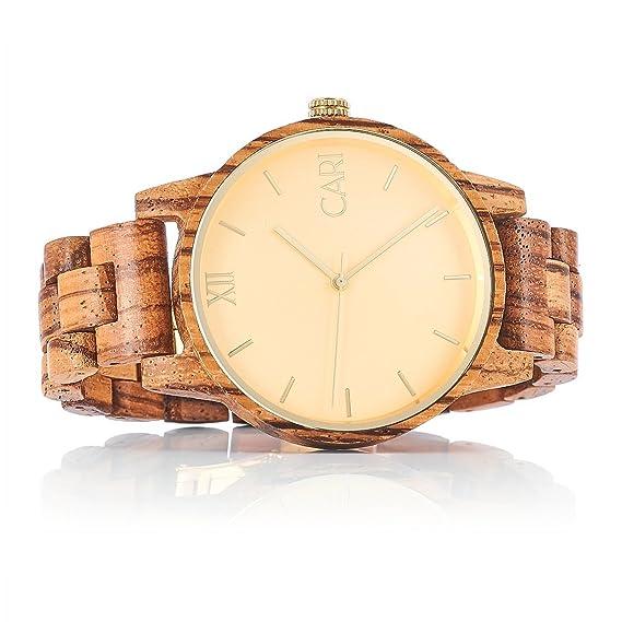 Cari Reloj para Hombre Movimiento Suizo con Correa de Madera de Cebra - Reloj Pulsera Londres-071: Amazon.es: Relojes
