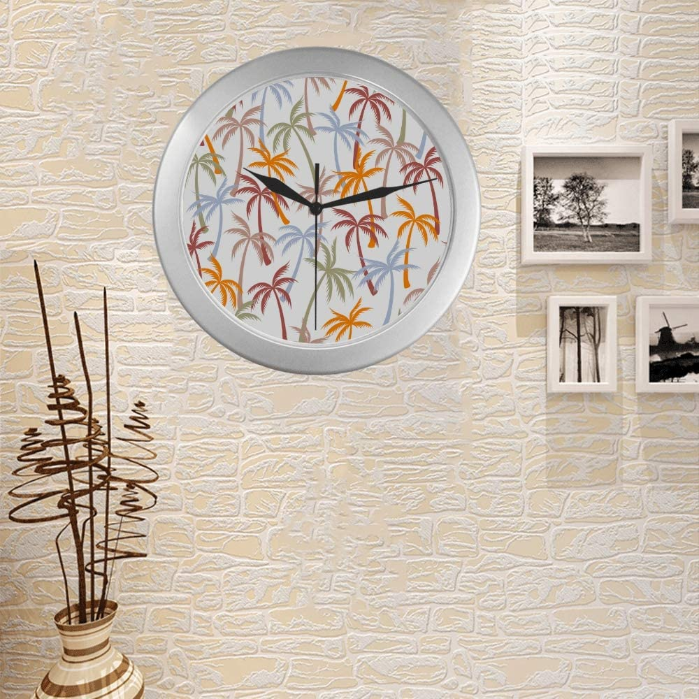 Amazon Com Wall Clock For Bedroom Coconut Palm Tree Tropical Forest Wall Clock For Living Room 9 65 Inch Silver Quartz Frame Decor For Office School Kitchen Living Room Bedroom Home Kitchen