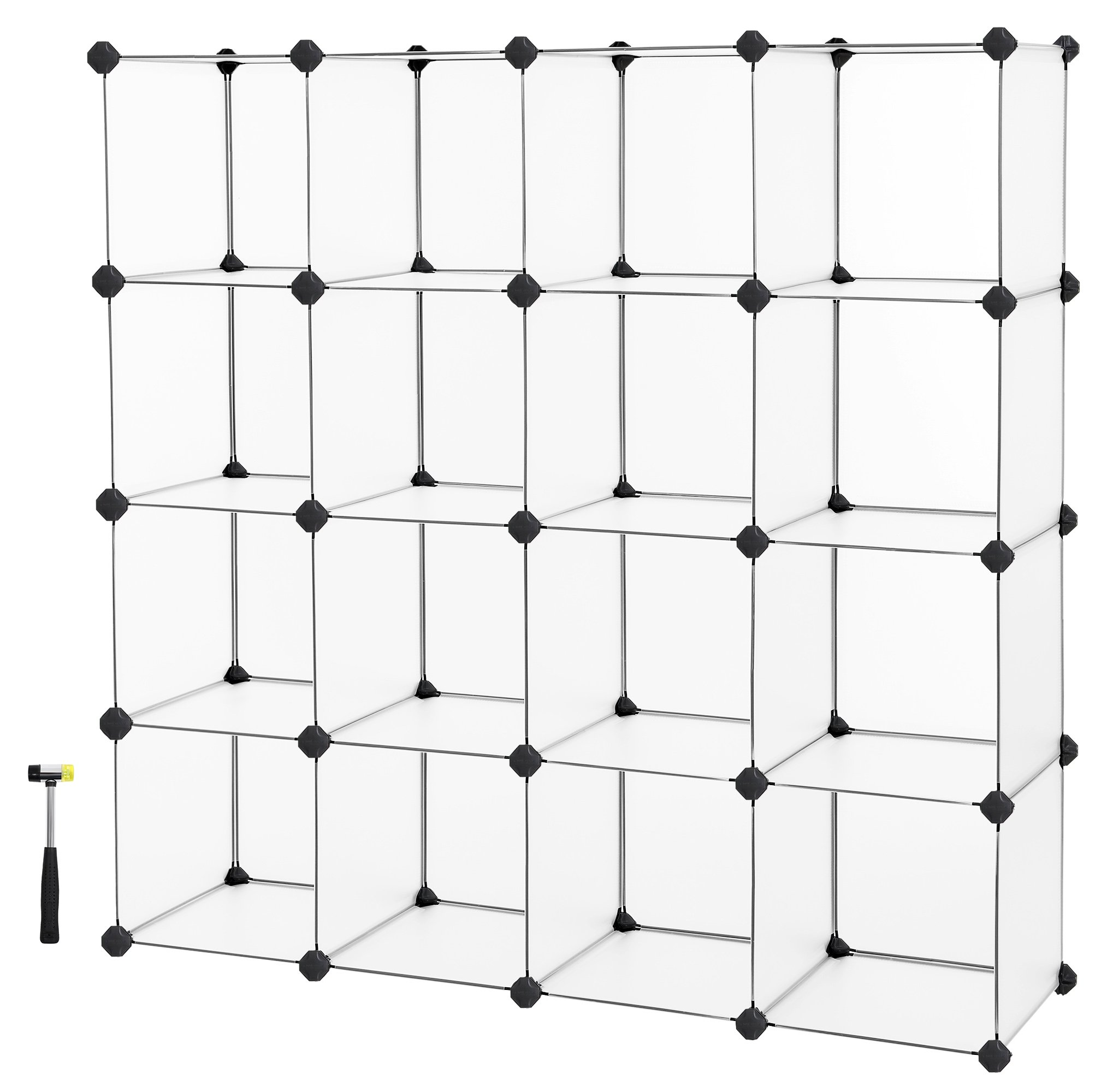 SONGMICS Cube Storage, Plastic Cube Organizer Units,DIY Modular Closet Cabinet, Bookcase Included Anti-Toppling Fittings and Rubber Hammer White Translucent 16-Cube ULPC44L
