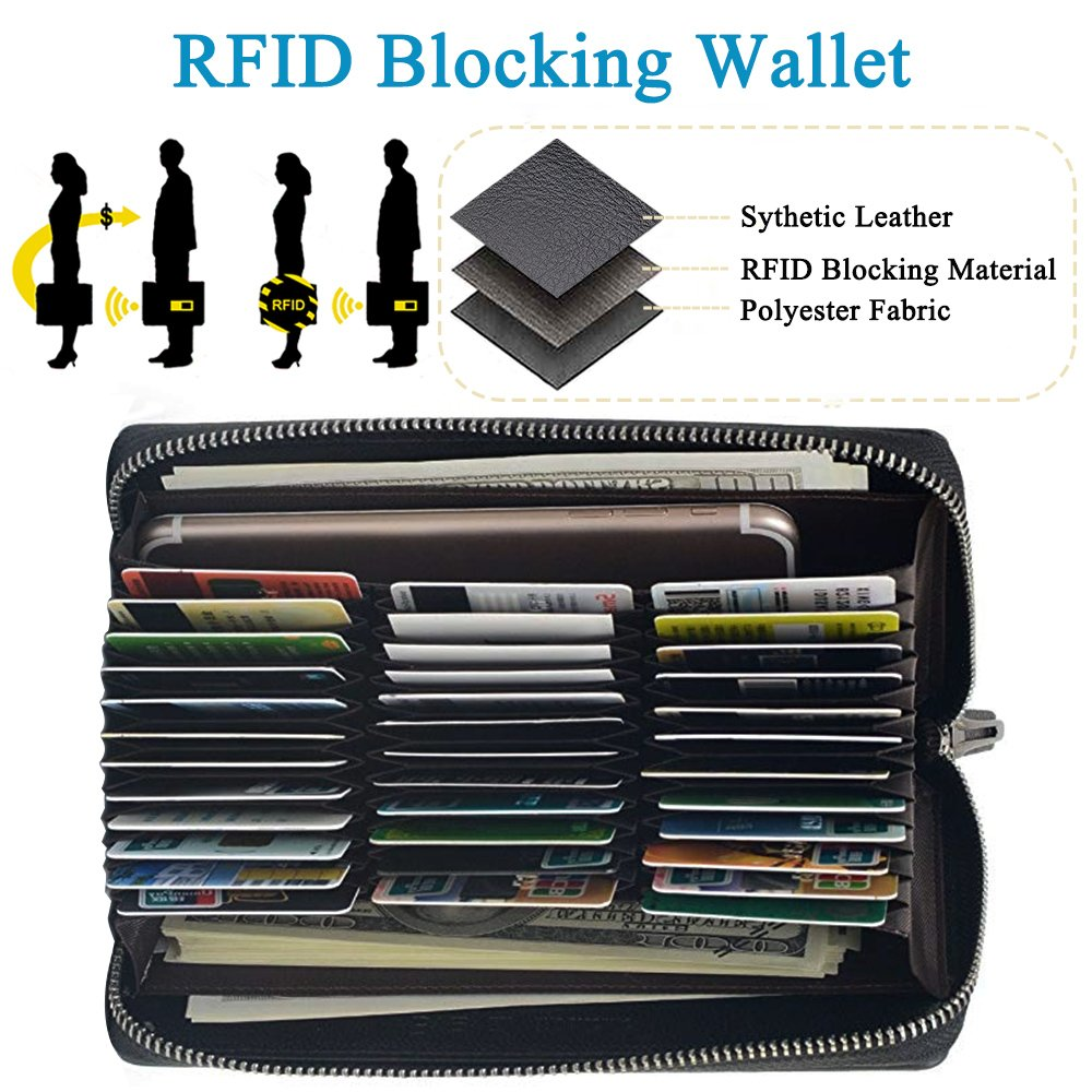 RFID Blocking Leather Wallet 36 Slots Card Holder Large Zipper Purse for Women/Men (Black) by Szezon (Image #4)