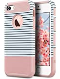 iPhone 5S Case, iPhone 5 Case,iPhone SE Case, ULAK Slim Protection Case Hybrid Scratch Resistant Hard Back Cover Shock Absorbent TPU Bumper Protective Case (Rose Gold Minimal Stripes)