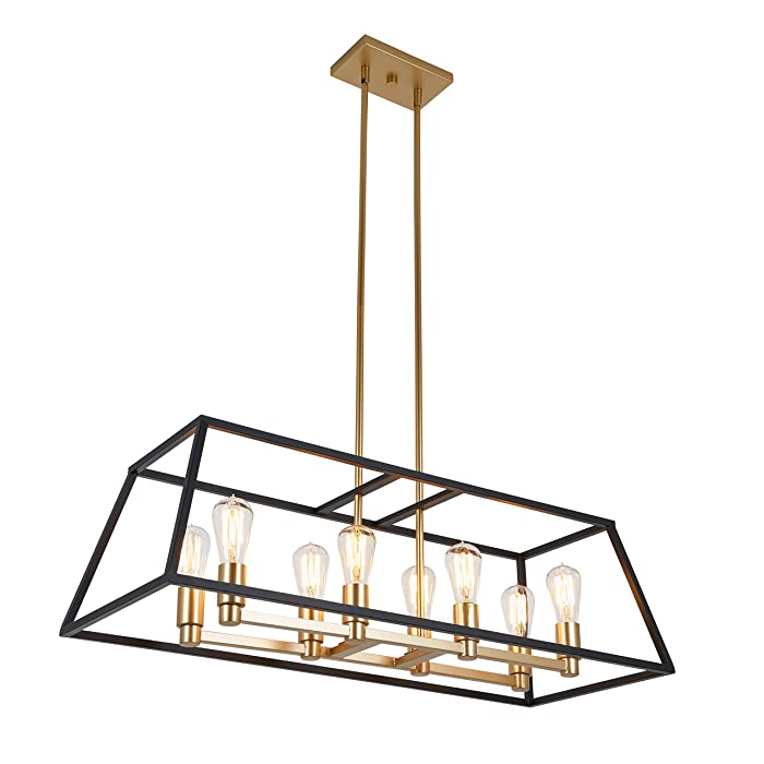 Artika CAR36-ON Rectangular 8 Pendant Light Fixture, Kitchen Island Chandelier, with a Steel Black and Gold Finish, Age Brass