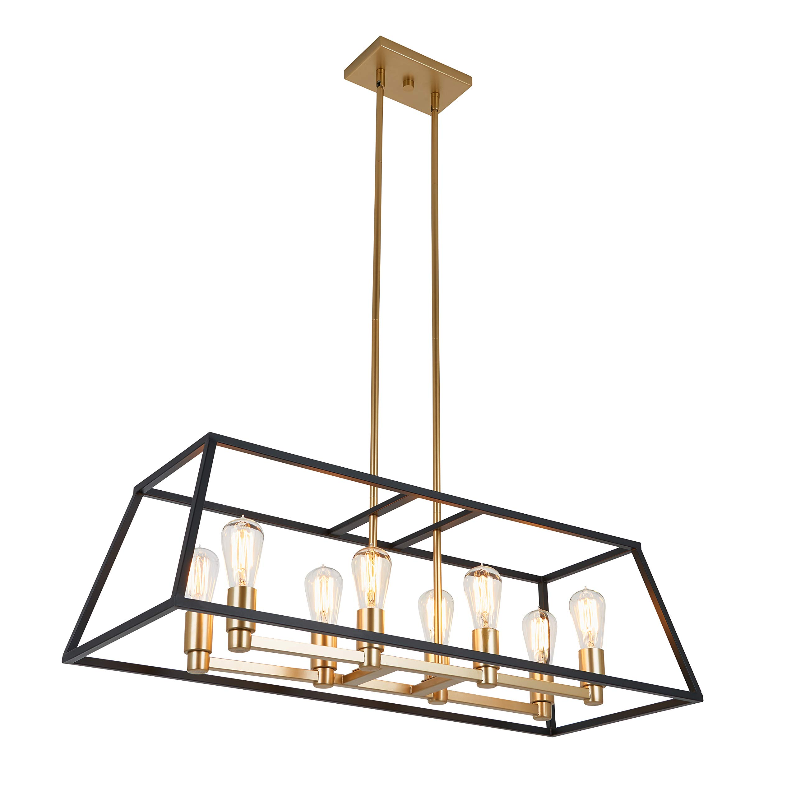 Artika CAR36-ON Rectangular 8 Pendant Light Fixture, Kitchen Island Chandelier, with a Steel Black and Gold Finish, Age Brass by Artika (Image #1)