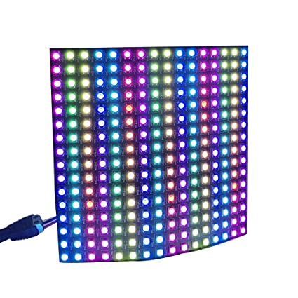 CHINLY WS2812b Pixel Matrix, 16x16 256 Pixels WS2812B Digital Flexible LED  Panel Programmed Individually addressable Dream Screen DC5V