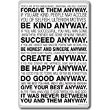 Mother Teresa Anyway Quote - motivational quotes fridge magnet