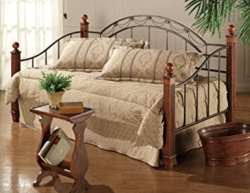 camelot metal daybed w wood metal post in black gold finish