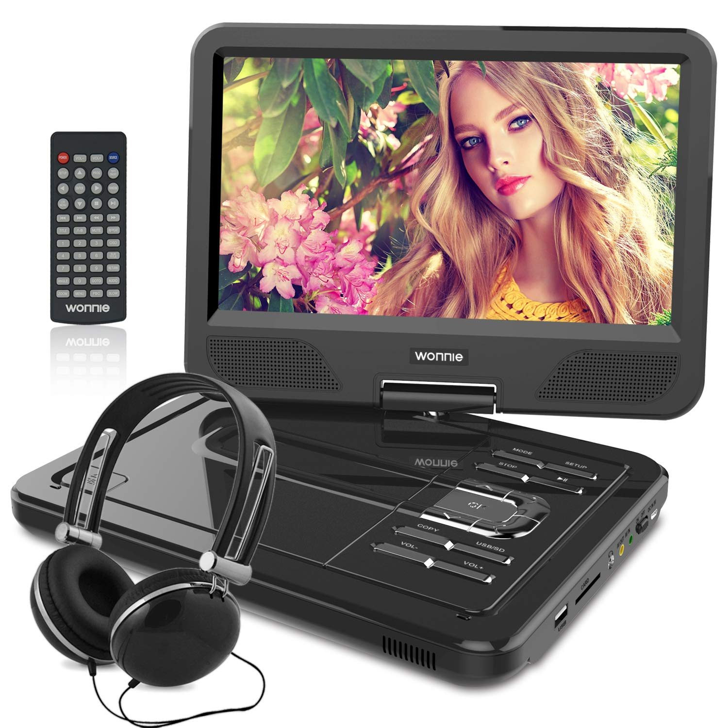 WONNIE 12.5 Inch Portable DVD Player for Car, with Rechargeable Battery, 10.5'' Swivel Screen, SD Card Slot and USB Port, Gift for Kid and Senior Citizens(Black)
