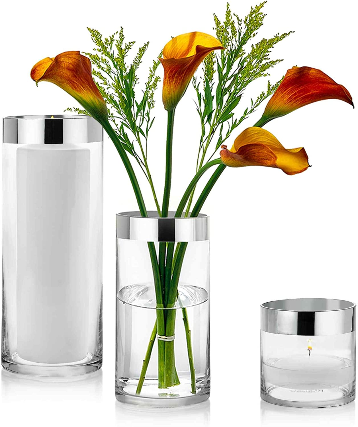 Set of 3 Glass Cylinder Vases 4, 8, 10 Inch Tall with 1 Inch Silver Rim – Multi-use: Pillar Candle, Floating Candles Holders or Flower Vase – Perfect as a Wedding Centerpieces.