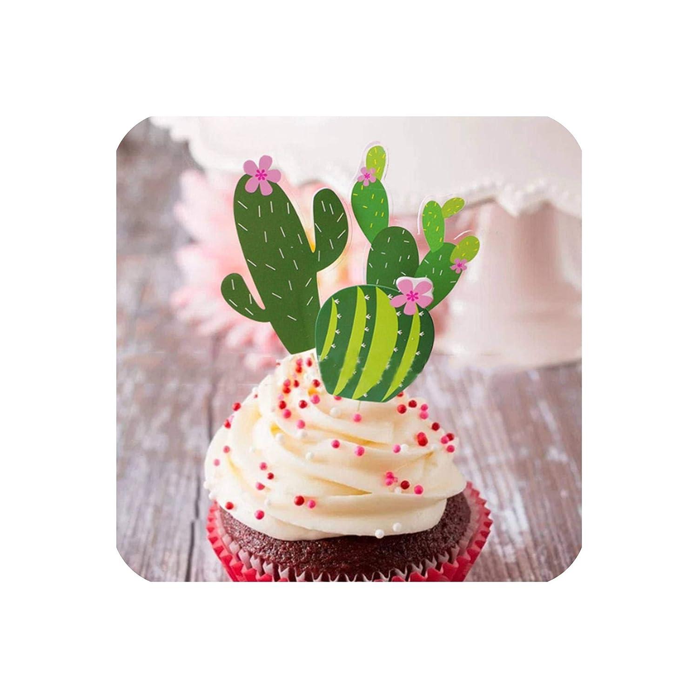 Cactus Party Decoration Cactus Llama Banner Cactus Balloon Cactus Cake Topper Tropical Summer Party Supplies,A Set4
