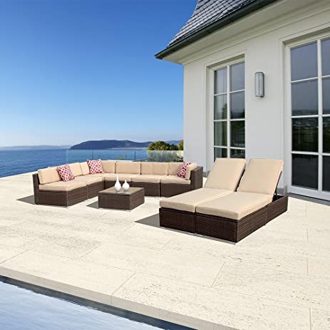 amazon com 9pc outdoor patio furniture set pe wicker rattan