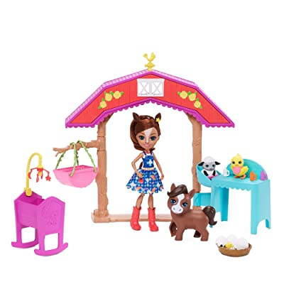 Enchantimals Barnyard Nursery Playset with Haydie Horse Doll (6-inch), Trotter Horse, 3 Additional Animal Figures, and 10+ Accessories: Toys & Games