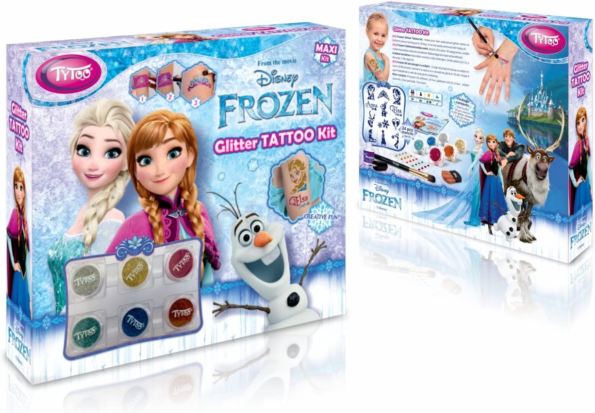 Disney Frozen Glitter Tattoo MAXI Kit 24 increíbles plantillas – Hipoalergénicas, sin crueldad – Duración de 8 – 18 días, tatuajes temporales