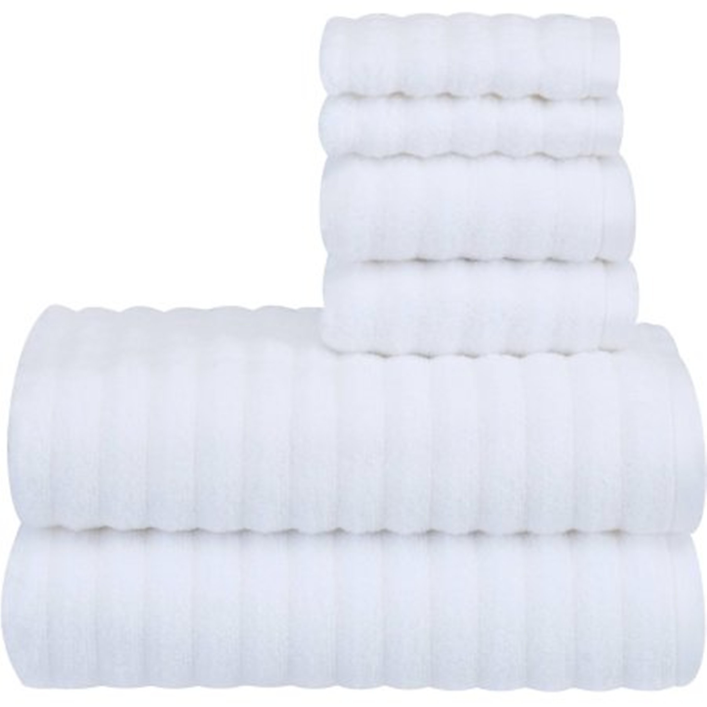 WELSPUN INDIA Performance Texture 6-Piece Bath Towel Set Arctic White