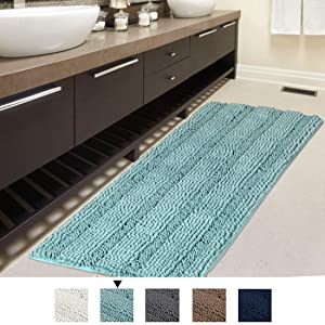 H.VERSAILTEX Bath Rug Runner Slip-Resistant Washable Striped Pattern Large Chenille Shaggy Bath Mat Runner Extra Soft and Absorbent Indoor Bath Mat for Bathroom, 47 inch by 17 inch - Eggshell Blue