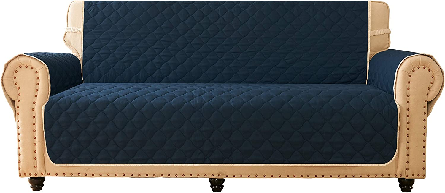 Ameritex Sofa Cover, Reversible Quilted Furniture Protector, Ideal Sofa Slipcovers for Pets & Children, Water Resistant, Will Keep Your Couch Stain, Dirt & Scratches-Free (style2 Navy, 78'')