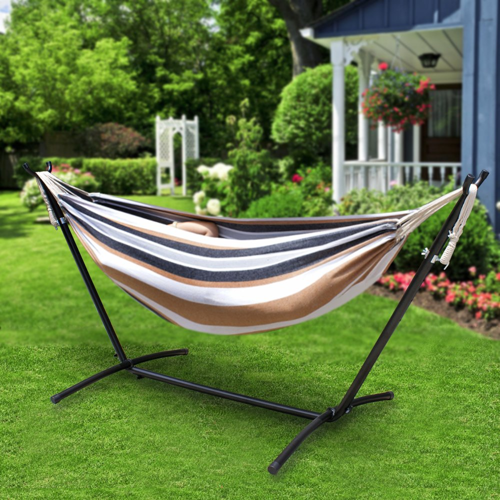 Nova Microdermabrasion Garden Double Hammock with Space Saving Steel Stand 9 ft Includes Portable Carrying Case,450 Pound Capacity (Desert Stripe)