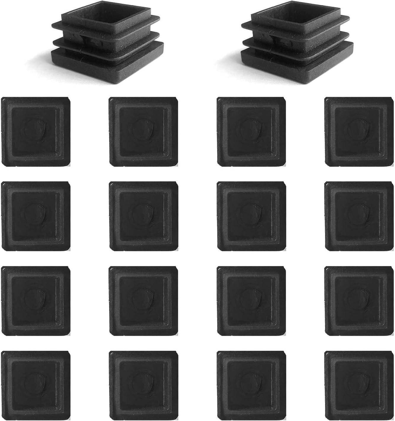 YouU 16 piezas de tubo cuadrado, tapón de plástico negro, tapa de extremo de 2 pulgadas, poste de cubierta, cubierta de tubo, tubo, silla, tapa de extremo de poste (50x50 mm / 2''x2 '')
