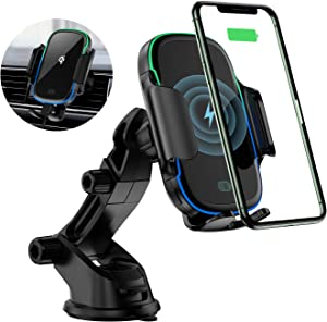 KLT Wireless Car Charger Mount 15W Qi Fast Charging Auto-Clamping Windshield Dash Air Vent Car Phone Holder Compatible with iPhone 11/11 Pro/11 Pro Max/XS/X/XR, Samsung S10/S10+/S9/S9+/S8/S8+, etc