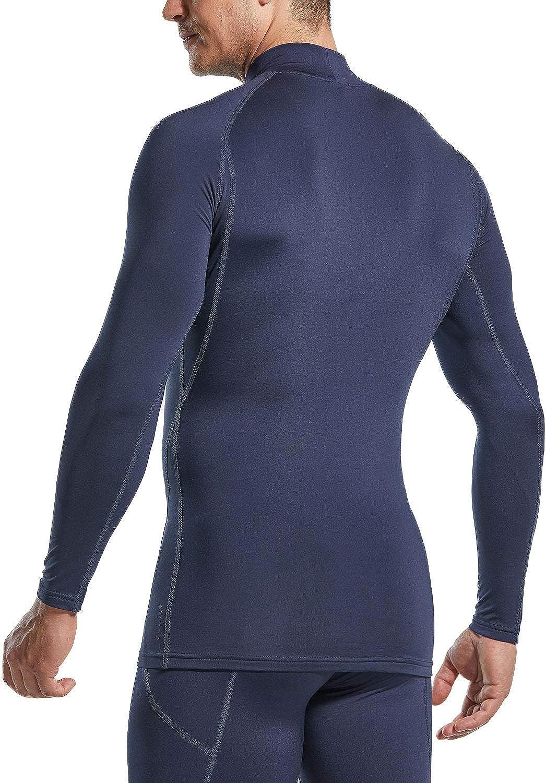 Active Running Shirt Mock Winter Sports Base Layer Top ATHLIO 1 or 3 Pack Mens Thermal Long Sleeve Compression Shirts