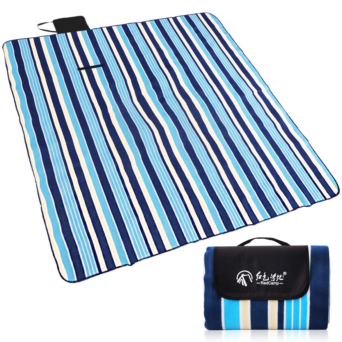 Hiking Blue Stripes Foldable and Lightweight azamp Outdoor Picnic Blanket 150 x 200 cm Multifunctional Portable for Festival Travel Camping Beach Blanket Water-Resistant Mat