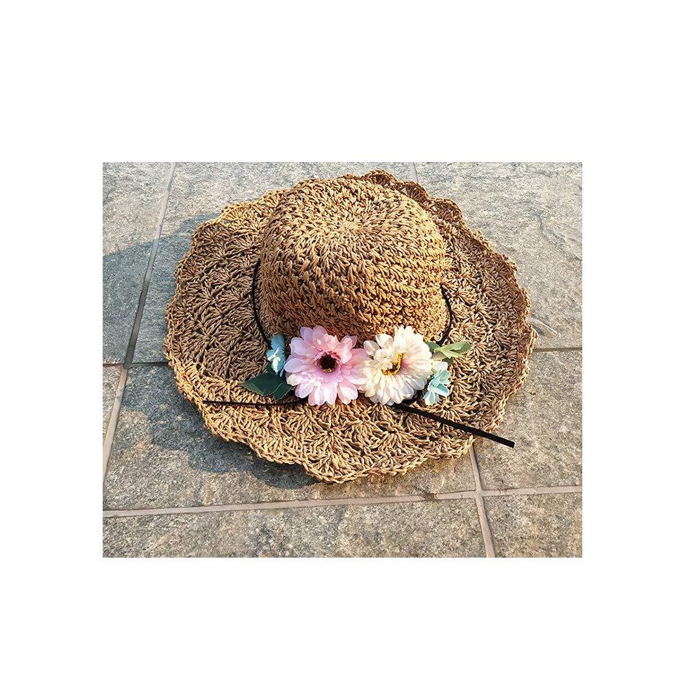 Scherza il cappello di paglia di estate del grande bordo Fiore spiaggia dei cappelli di Sun a mano Cappello di paglia della protezione protezione solare per il Beach Park Pool