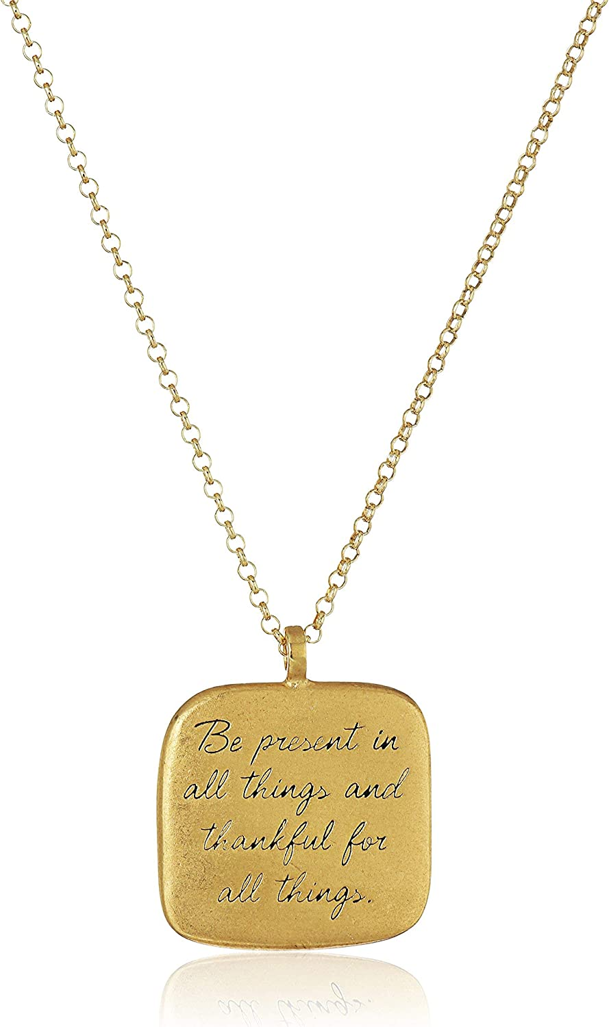 "Dogeared ""Maya Angelou"" Be Present In All Things Quote Square Pendant Necklace"