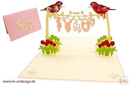 LIN17587, tarjeta pop up, tarjeta de felicitación nacimiento ...