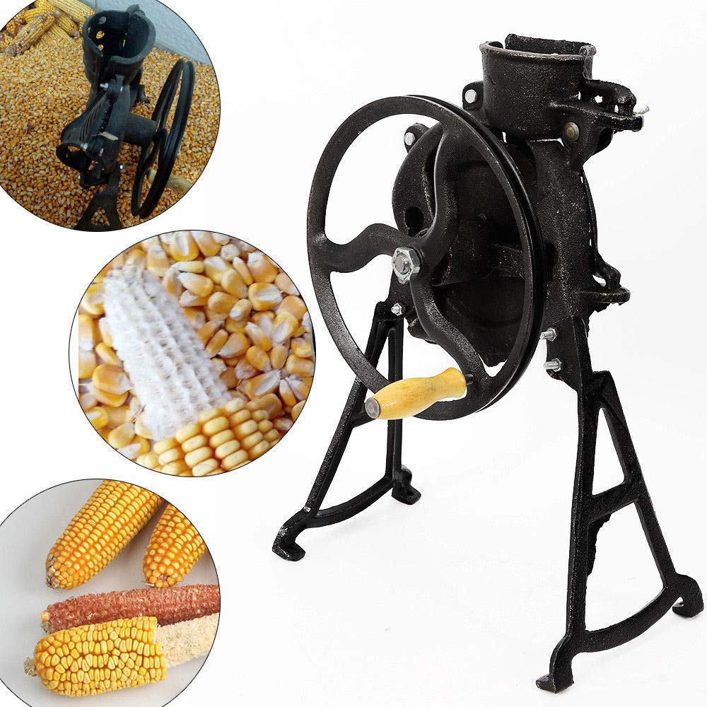 Bkisy Threshing Rate 98% Hand Corn Sheller with Wooden Handle Cast Iron Manual Corn Thresher Heavy Duty Corn Shelling Machine for Small Farm and Household Usage by Bkisy