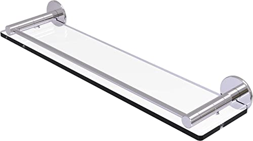 Allied Brass FR-1 22G Fresno Collection 22 Inch Vanity Rail Glass Shelf, Polished Chrome