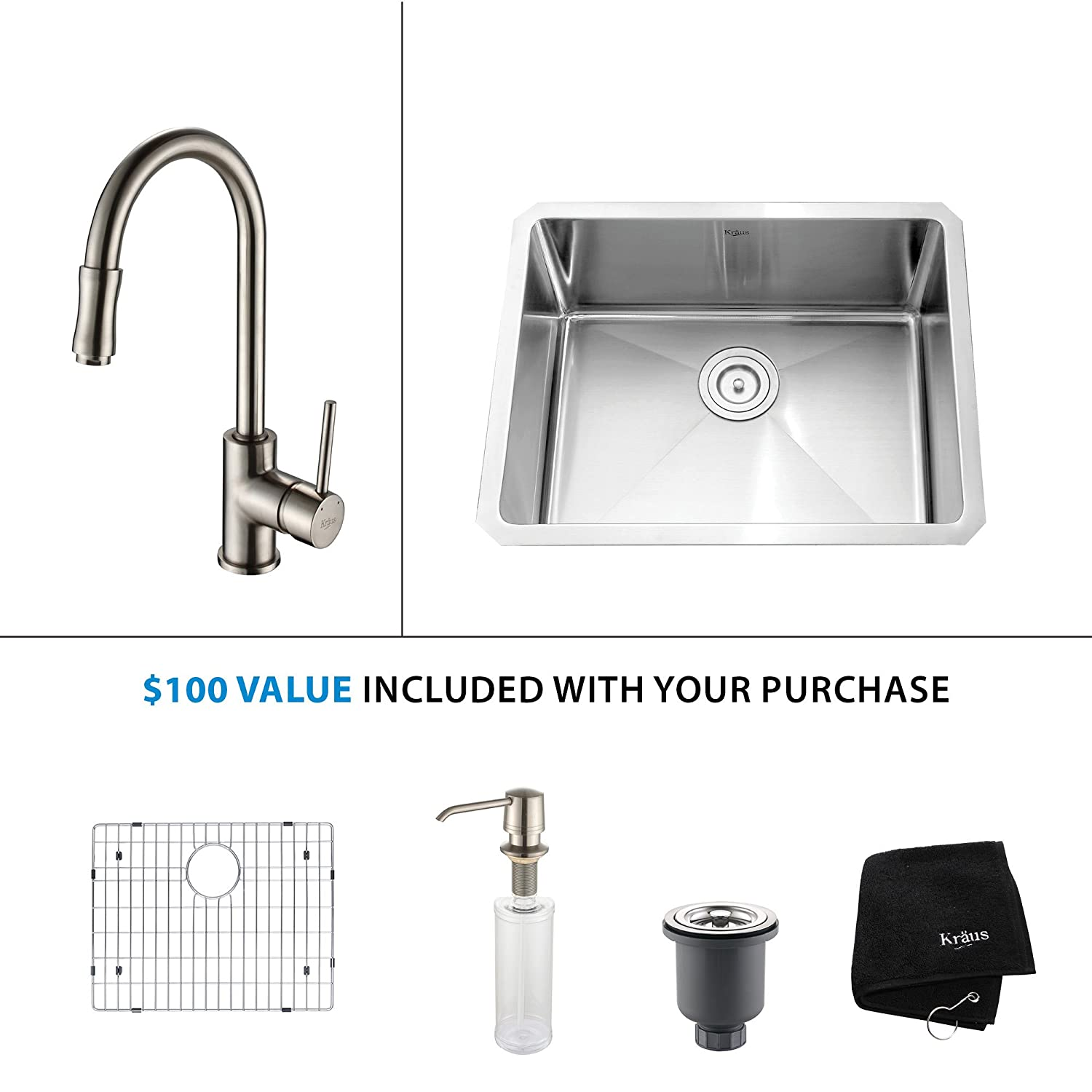 Kraus KHU101-23-KPF1622-KSD30SN 23 inch Undermount Single Bowl Stainless Steel Kitchen Sink with Satin Nickel Kitchen Faucet and Soap Dispenser