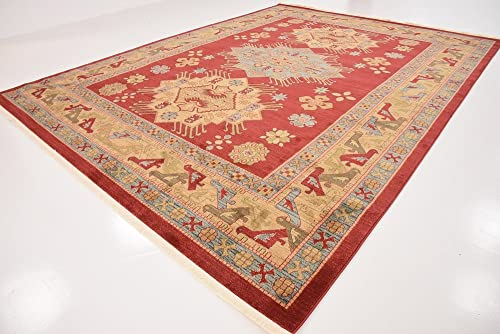 Unique Loom Sahand Collection Traditional Geometric Classic Red Area Rug 10' 0 x 13' 0