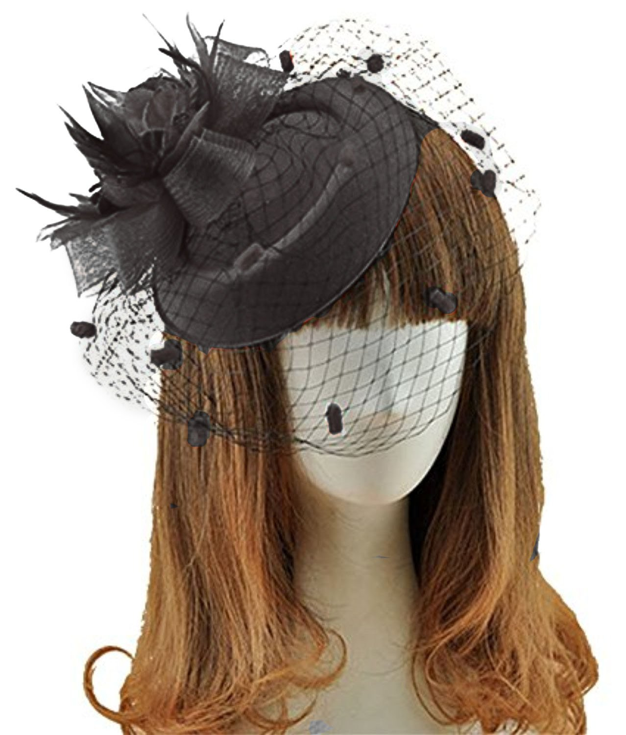 Fascinator Hats Pillbox Hat British Bowler Hat Feather Flower Veil Wedding Hat (Black )