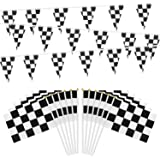 OOTSR 32ft Checkered Black and White Pennant Banner Racing Flags, and 30pcs Checkered Flags with Plastic Stick (8x5.5…