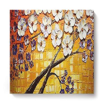 Amazon com: Prironde Wall Art Oil Painting White Purple Tree
