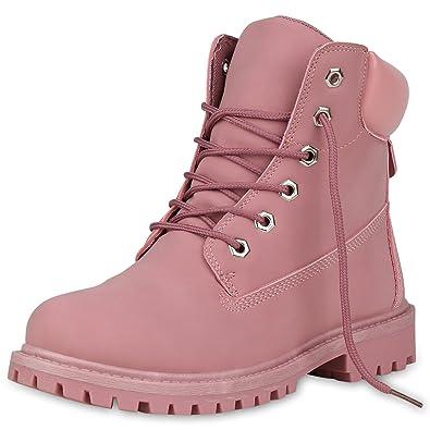 96ff0663c3767c SCARPE VITA Damen Stiefeletten Outdoor Schuhe Profilsohle Worker Boots  148191 Rosa 36