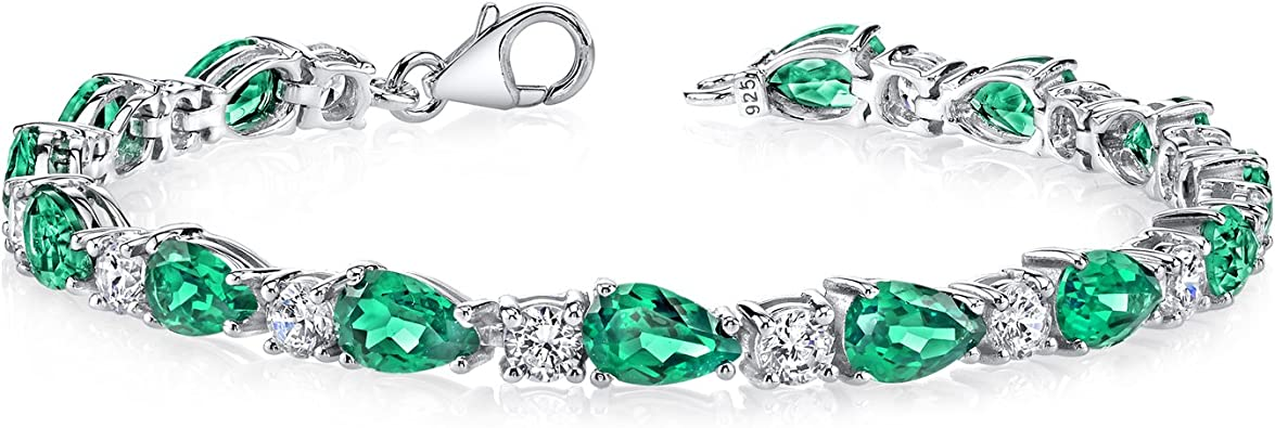 Peora 13.00 carats Pear Shape Simulated Emerald Bracelet in Sterling Silver