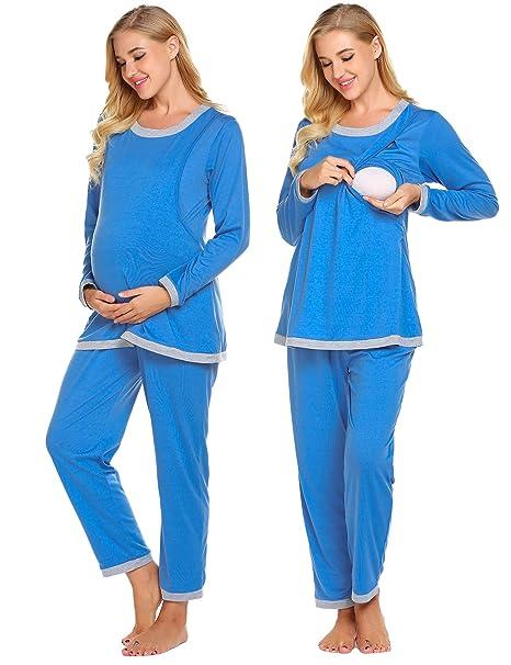 7830385737a5b Ekouaer Women's Maternity Nursing Pajama Set, Breastfeeding PJ Sets  Patchwork Nightgown Sleep Set