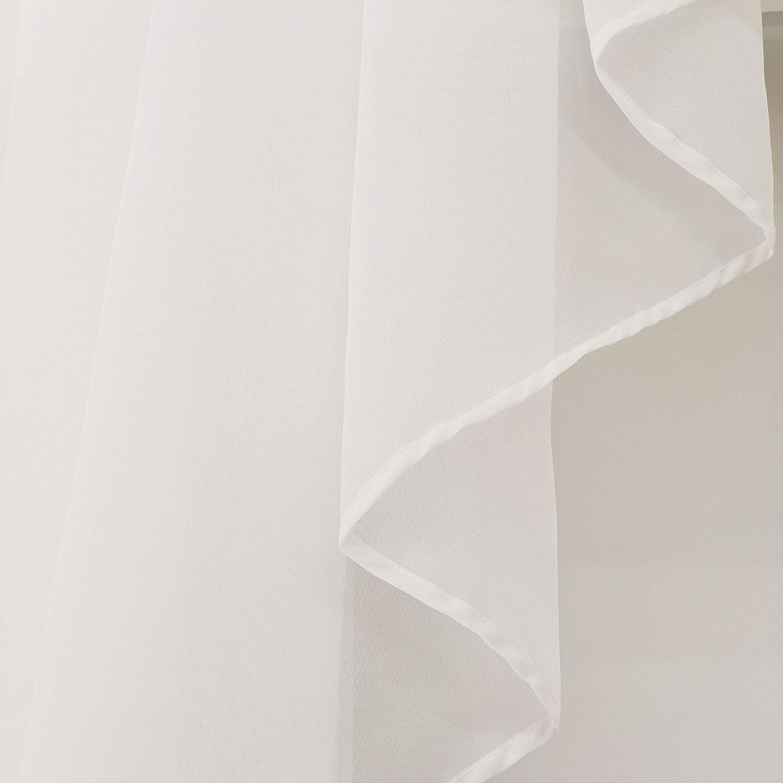 Balcon LxH 80x80CM, Blanc//Beige 1Pc Petit Store Voilage Passe Tringle avec Plis Vitrage D/écoration de Fen/être Chambre Salle de Bain