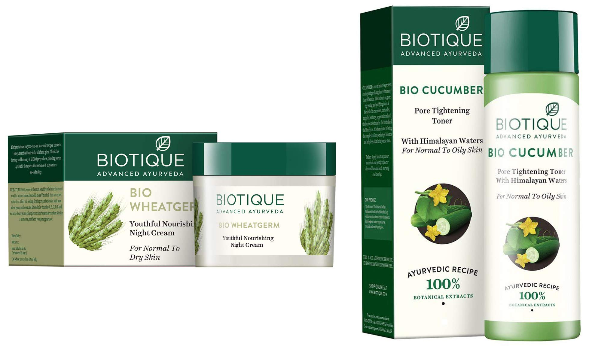 Biotique Bio Wheat Germ FIRMING FACE and BODY NIGHT CREAM For Normal To Dry Skin, 50G and Biotique Bio Cucumber Pore Tightening Toner, 120ml product image