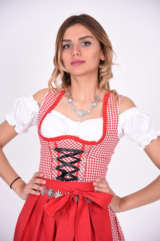 Dirndl Trachtenkleid 476GT Rot Wei/ß kariert Oktoberfest Gr 34 36 38 40 42