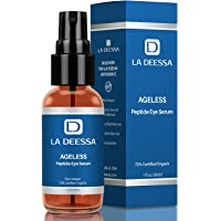 La Deessa Powerful Peptide Eye Serum, Organic Anti Aging Eye and Face Skin Care. Restore Skin's Structural Integrity, Increase Collagen Thicken Skin, Improve Elasticity & Reduce Fine Lines & Sagging. by La Deessa